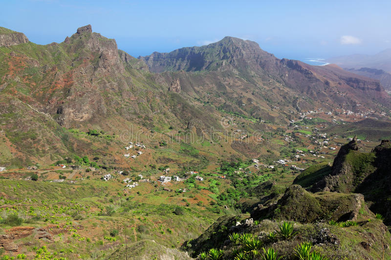 Spectacular view on island of Sao Nicolau, Cape Verde royalty free stock images
