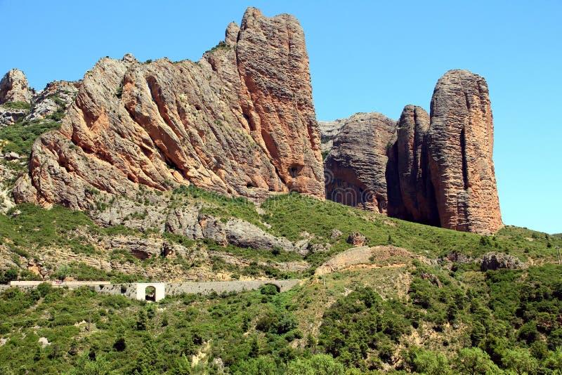 Spectacular view of Los Mallos de Riglos village. royalty free stock photo