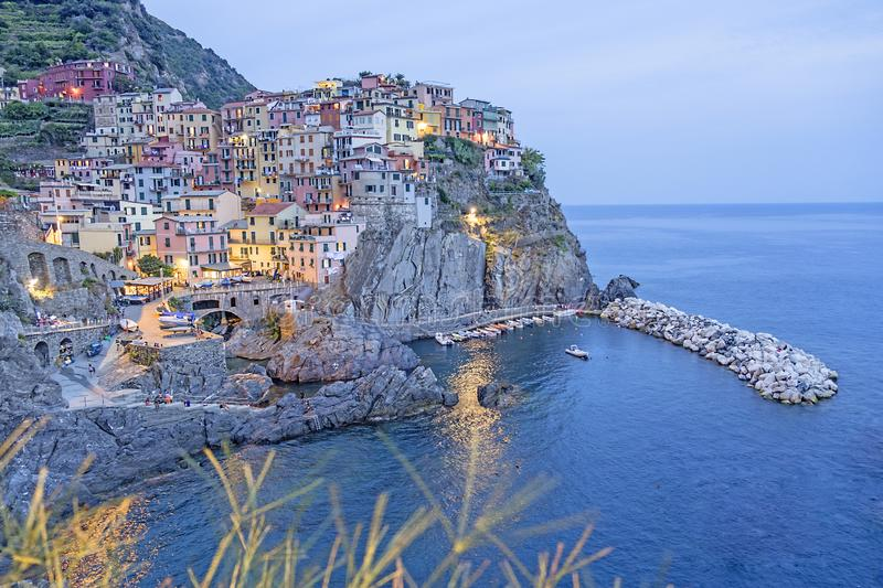 Spectacular view on Manarola at twilight, Cinque Terre, Italy stock image