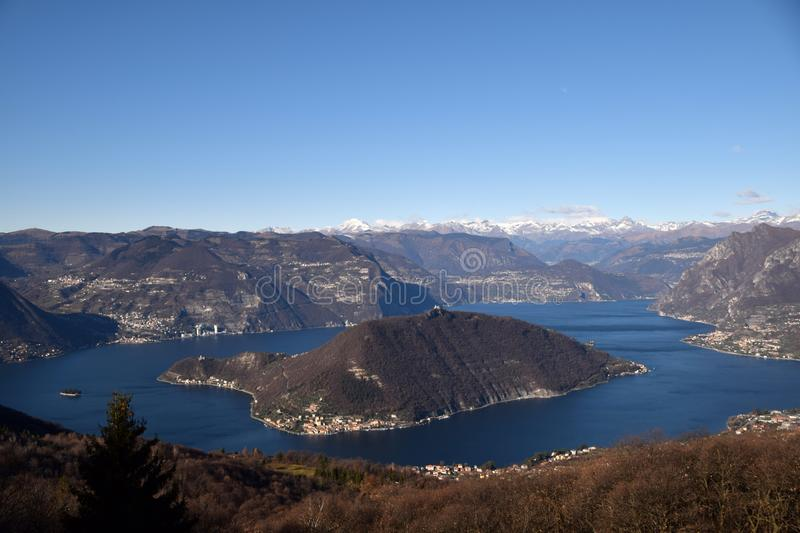 Spectacular view of Monte Isola and Lake Iseo with in the background the Orobiche Alps - Brescia - Italy 04. Spectacular view of Monte Isola and Lake Iseo with royalty free stock photos
