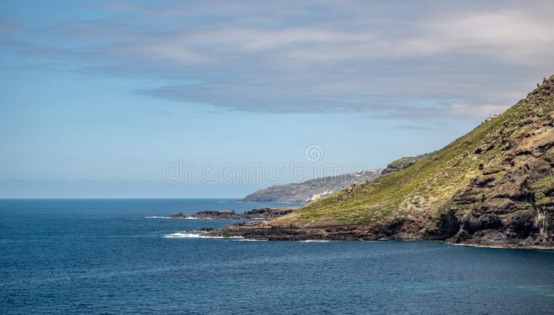 Spectacular view from the mountain over the coast from tenerife. A spectacular view from the mountain over the coast from tenerife royalty free stock photos