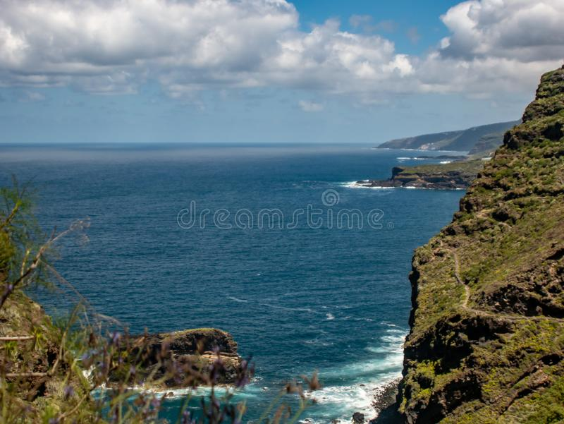 Spectacular view from the mountain over the coast from tenerife. A spectacular view from the mountain over the coast from tenerife royalty free stock photo