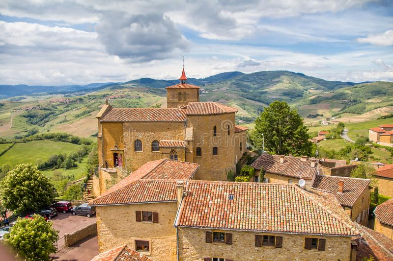 Spectacular view of Oingt,  historic medieval village in the Beaujolais region, north-west of Lyon stock image