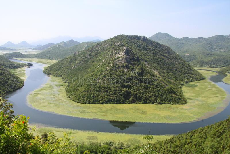 River meander - Spectacular view of Rijeka Crnojevica river and Lake Skadar royalty free stock image