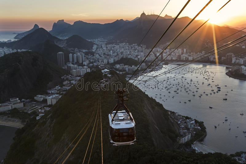 Spectacular view of Rio de Janeiro from Sugar Loaf Mountain at sunset royalty free stock photo