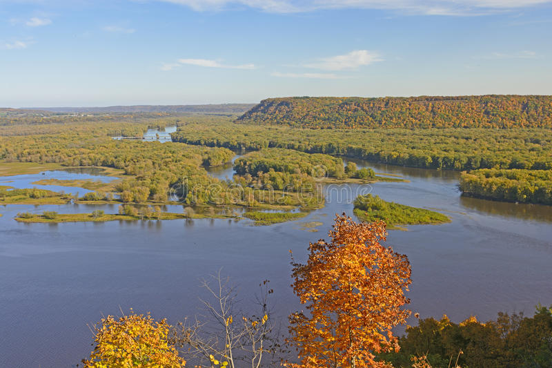 Spectacular View of a River Confluence in Autumn royalty free stock image