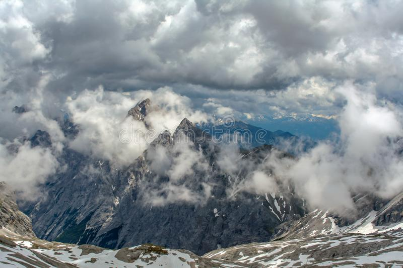 Spectacular view from the summit of the Zugspitze Germany royalty free stock image
