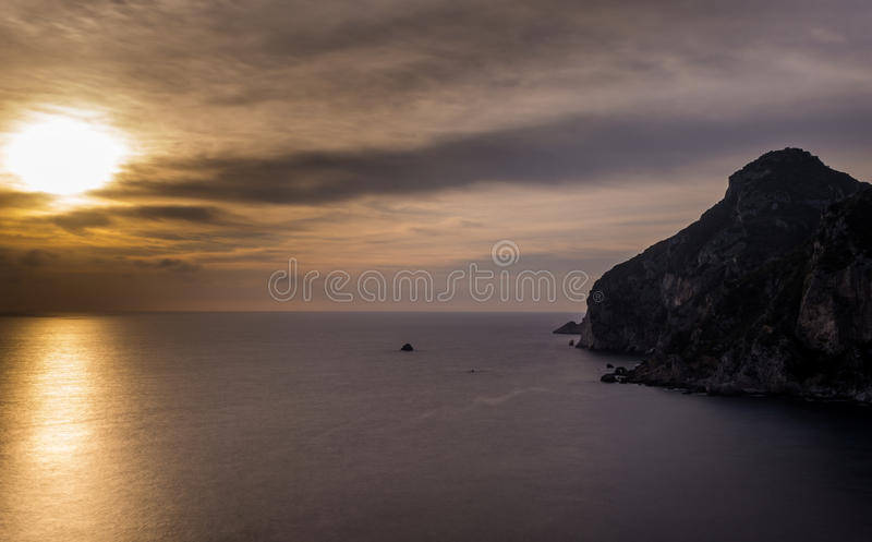 Spectacular view of the sunset in Palaiokastritsa Corfu Greece. royalty free stock photography