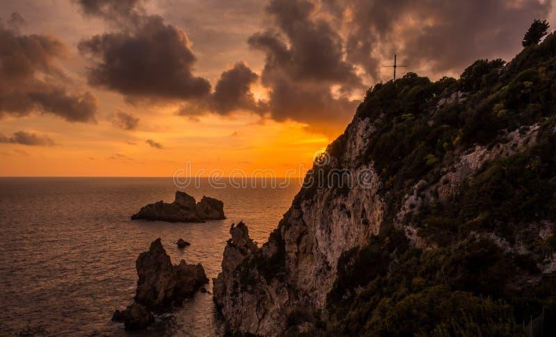 Spectacular view of the sunset in Palaiokastritsa Corfu Greece. stock image