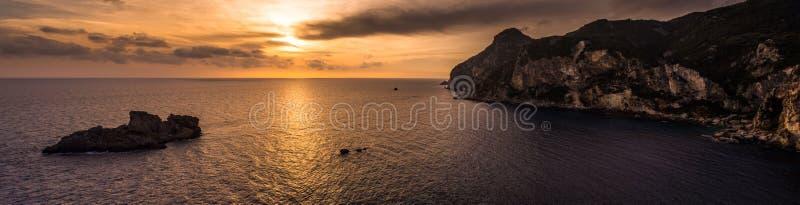 Spectacular view of the sunset in Palaiokastritsa Corfu Greece. royalty free stock photo