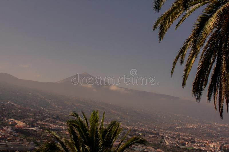 Spectacular view to the mountain with city royalty free stock photography
