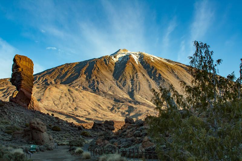 Spectacular view to the Pico del Teide in tenerife. A Spectacular view to the Pico del Teide in tenerife royalty free stock photos