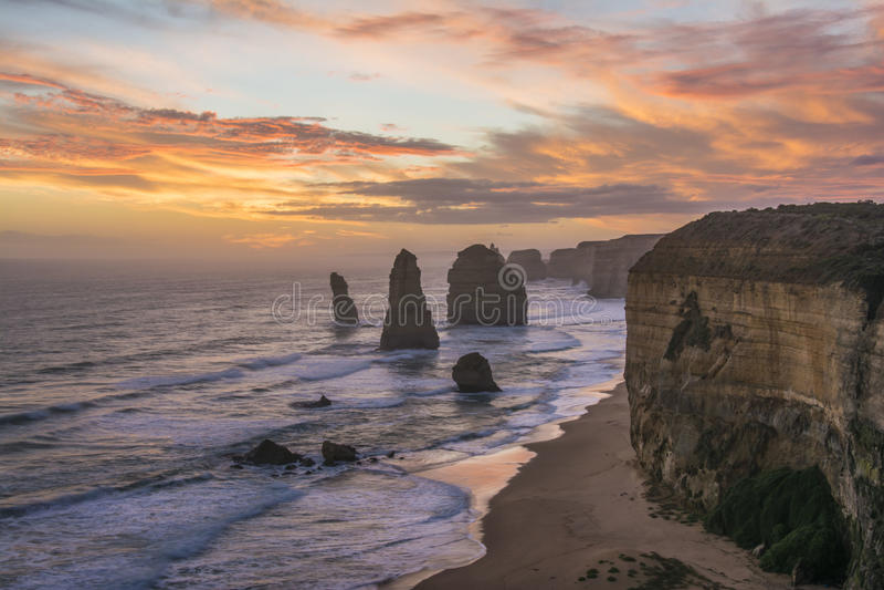 Spectacular view of the Twelve Apostles at sunset. Great Ocean Road, Victoria, Australia. A spectacular view of the Twelve Apostles at sunset. Great Ocean Road stock photos