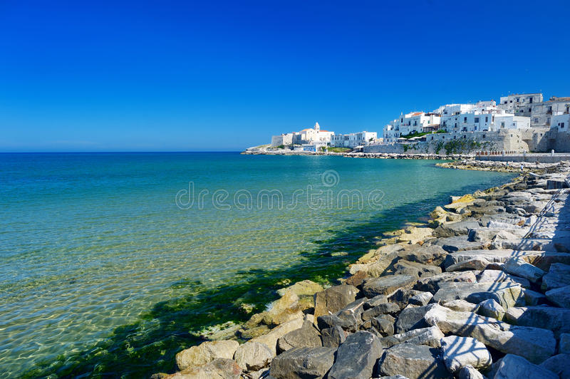 Spectacular view of Vieste town. In Italy royalty free stock image