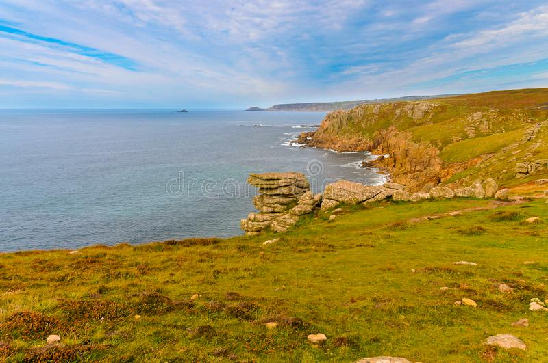 Spectacular views of the cliffs of Lands End. Spectacular views of the cliffs of the Southeast of England, in Lands End, Cornwall stock photo