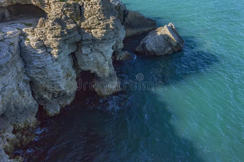 Spectacular views from top. To rocky coast stock photography