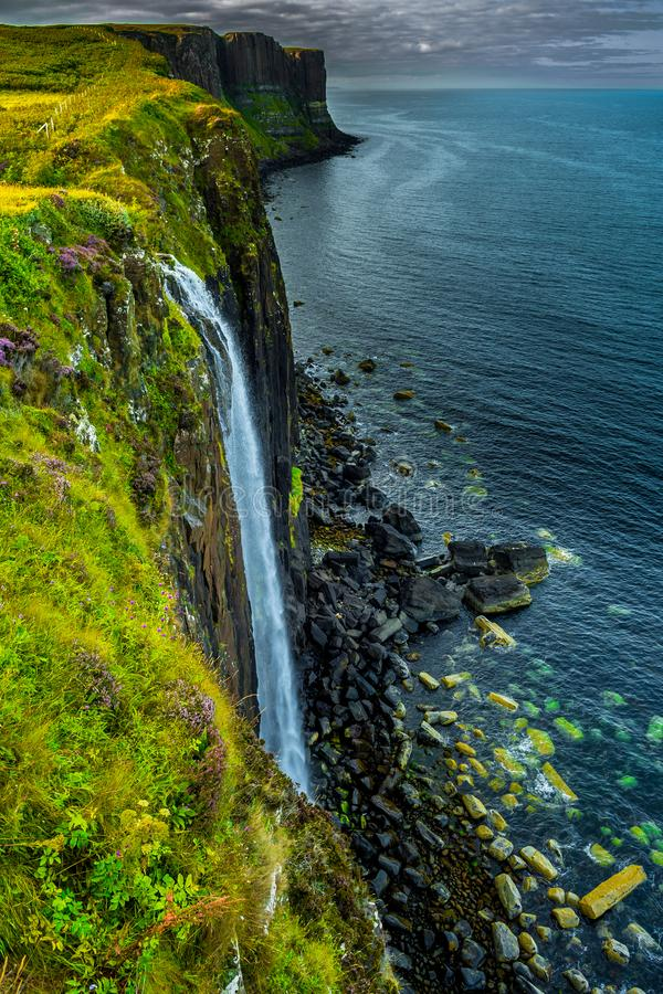 Spectacular Waterfall Of Kilt Rock On The Isle Of Skye In Scotland stock images