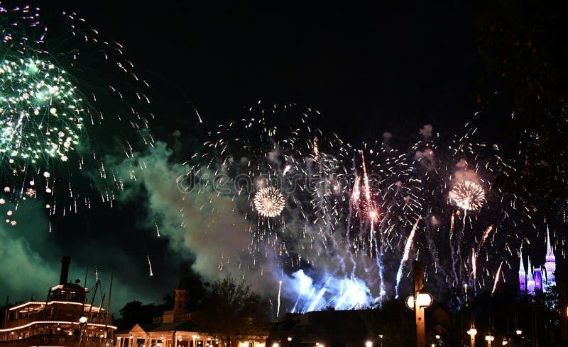 Spectaculare fajerwerku przedstawienie jeziorem zdjęcie royalty free