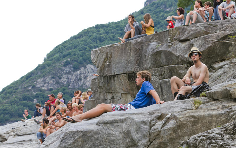 Spectators Enjoy Cliff Diving Championship Editorial Image