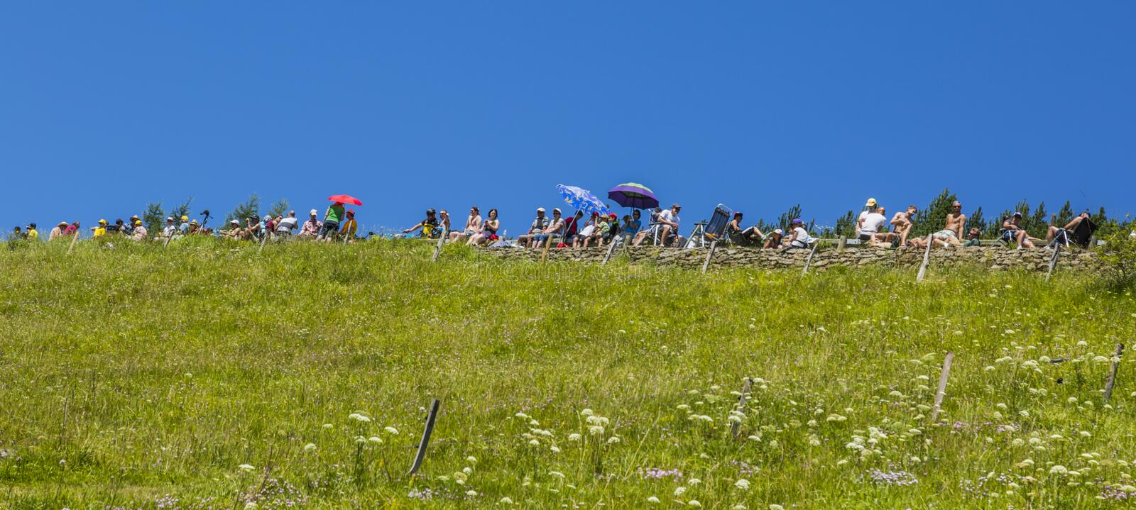 Spectators in Mountains - Tour de France 2014 royalty free stock image
