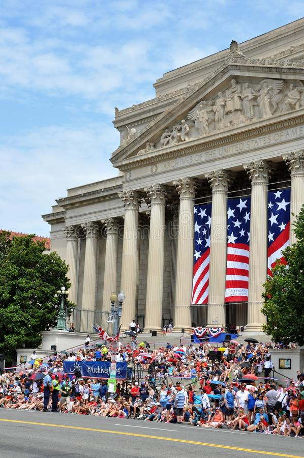 WASHINGTON, D.C. - JULY 4, 2017: spectators of the 2017 National Independence Day Parade July 4, 2017 in Washington, D.C. royalty free stock image