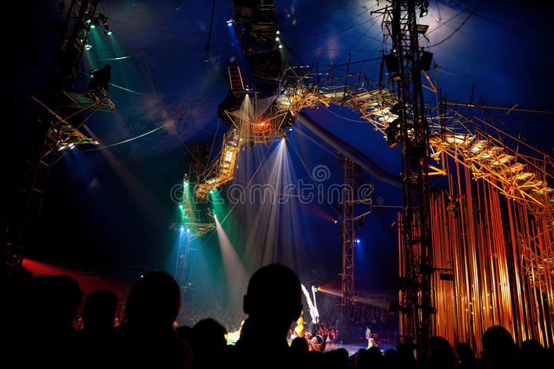 Spectators on representation of Cirque du Soleil royalty free stock photography