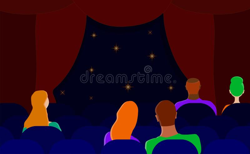 Spectators in the theater. Men and women in the hall. Flat vector. stock illustration