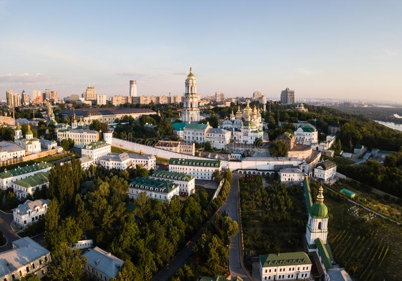 Spectecular aerial panoramic view of Kiev Pechersk Lavra churches and monastery on hills od Dnipro river from above. Famous. Orthodox sights, Kyiv city, Ukraine stock photo