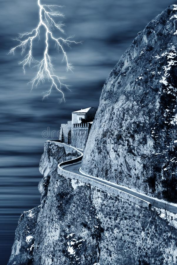 Spectral castle and lightning royalty free stock photo