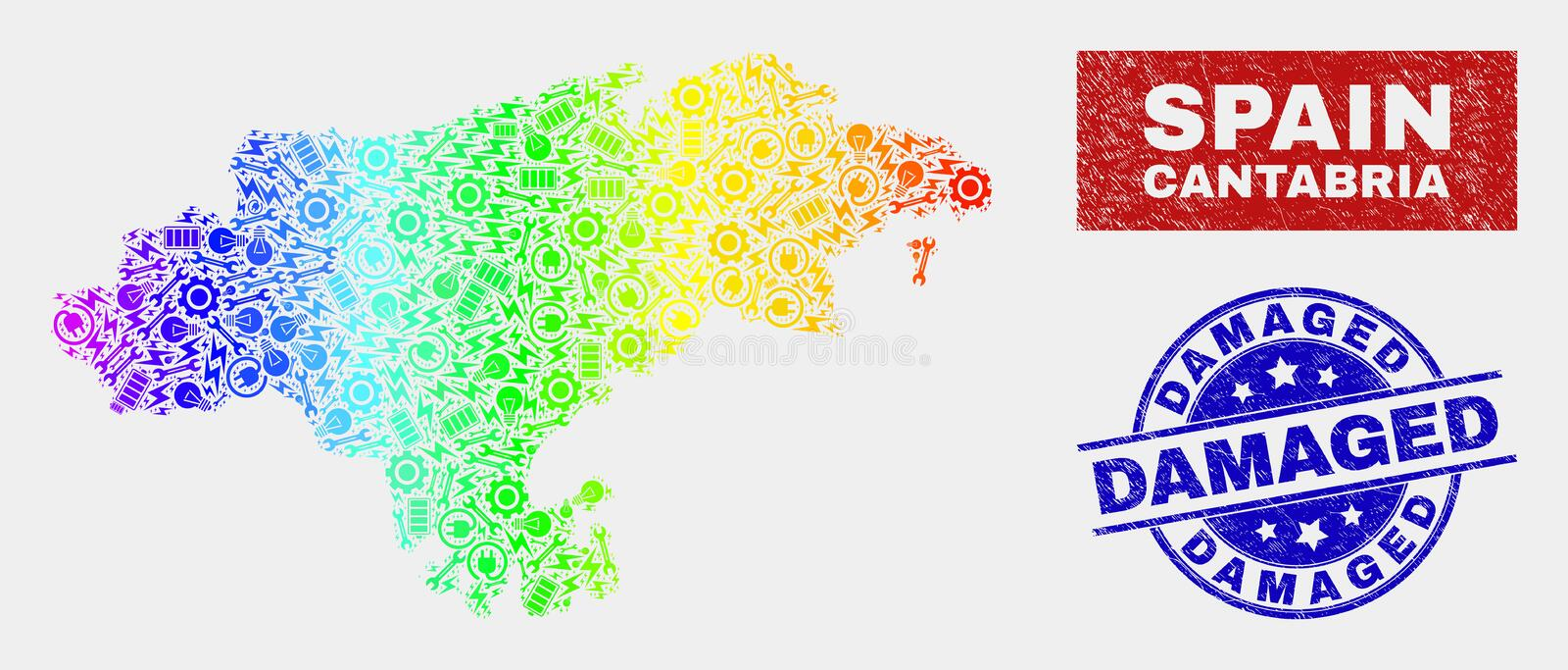 Spectral Component Cantabria Province Map and Scratched Damaged Seals royalty free illustration