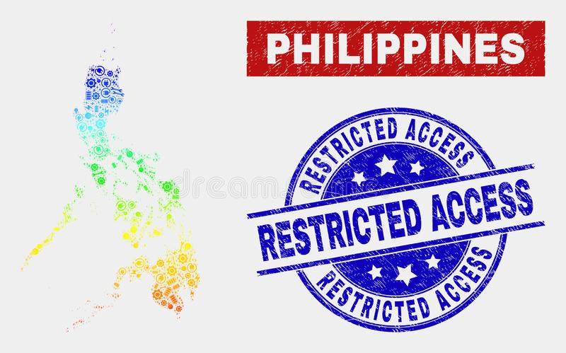 Spectral Component Philippines Map and Scratched Restricted Access Seals. Assemble Philippines map and blue Restricted Access grunge seal. Spectral gradient royalty free illustration