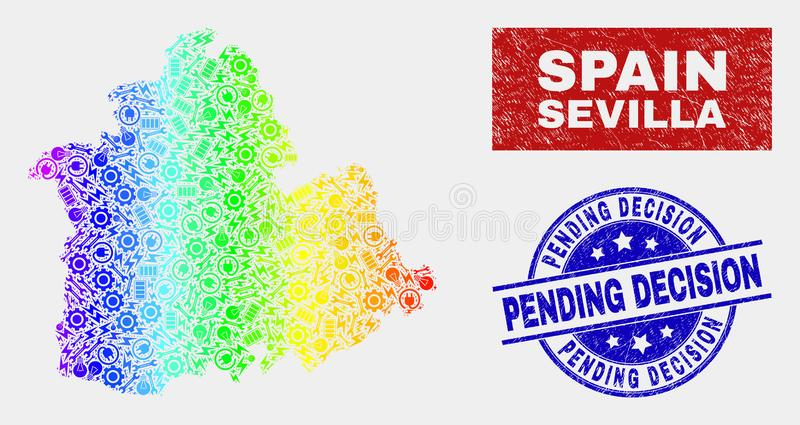 Spectral Construction Sevilla Province Map and Scratched Pending Decision Watermarks. Engineering Sevilla Province map and blue Pending Decision distress seal stock illustration