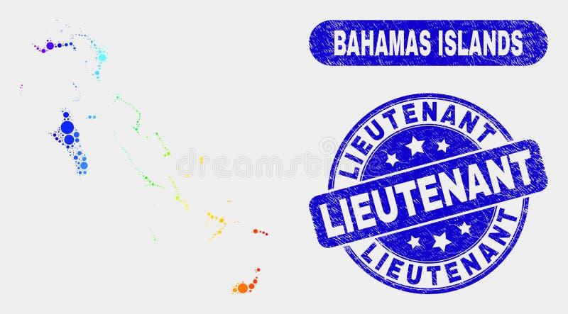 Bright Mosaic Bahamas Islands Map and Scratched Lieutenant Watermark vector illustration
