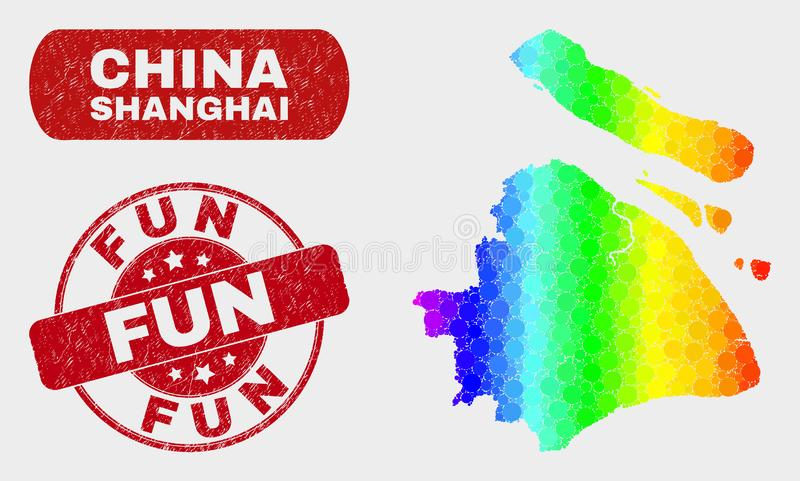 Bright Mosaic Shanghai City Map and Grunge Fun Stamp Seal. Spectral dot Shanghai City map and rubber prints. Red round Fun grunge watermark. Gradient rainbow stock illustration