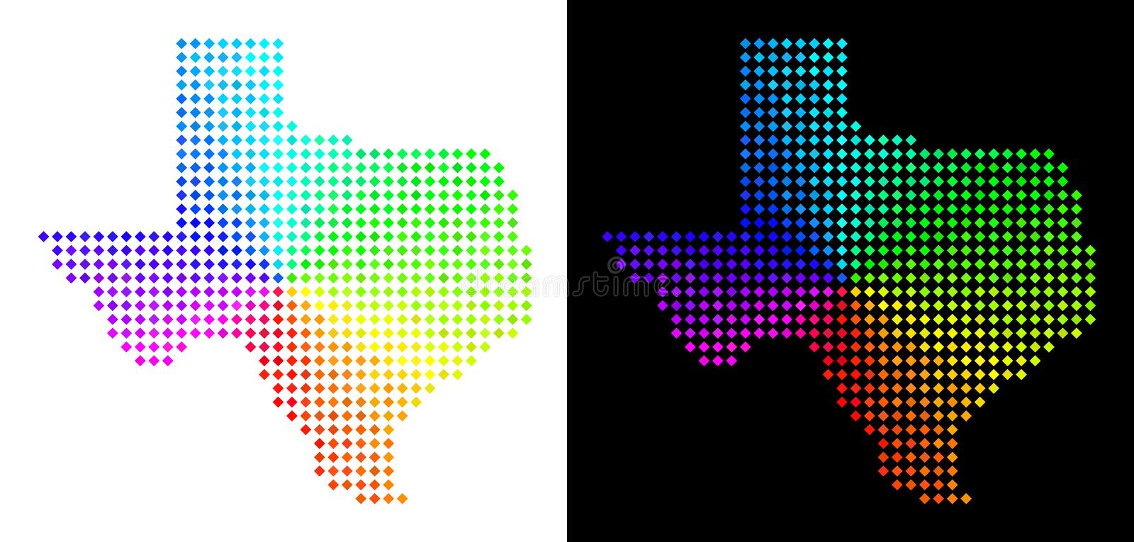 Spectral Pixelated Texas Map royalty free illustration