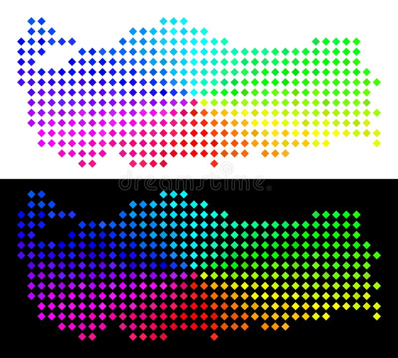 Spectral Pixelated Turkey Map stock illustration
