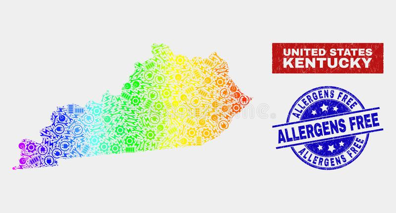 Spectral Factory Kentucky State Map and Scratched Allergens Free Watermarks vector illustration