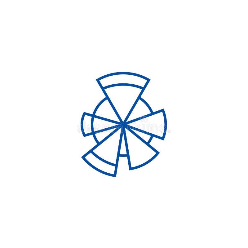 Spectral graph line icon concept. Spectral graph flat  vector symbol, sign, outline illustration. stock illustration