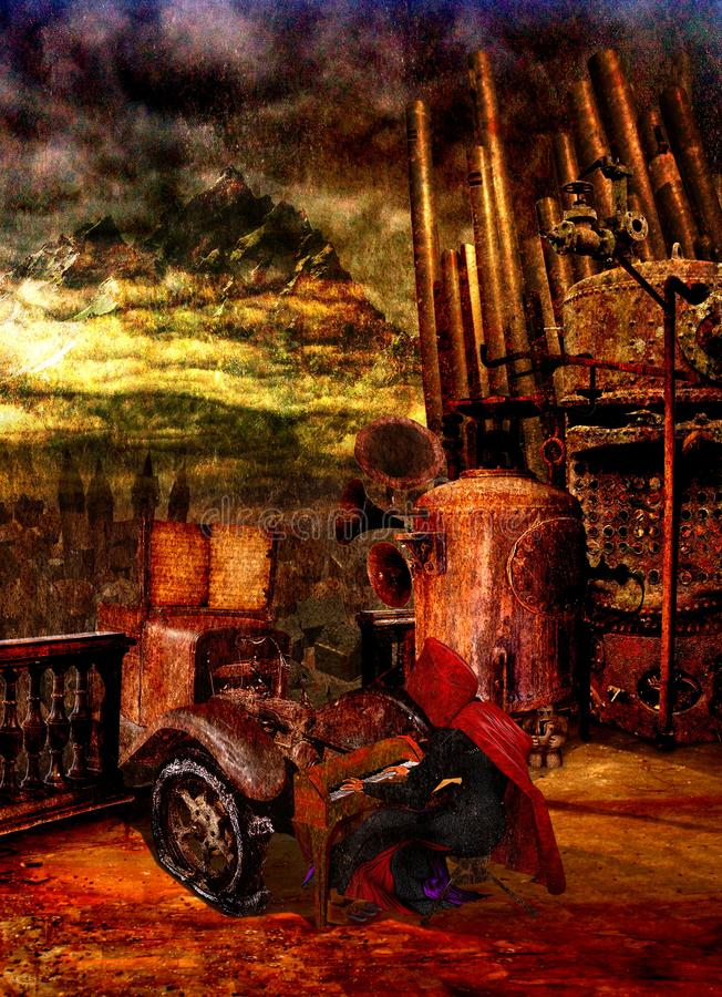 Spectral horrorific man play his pianola on a rusty tower royalty free stock image