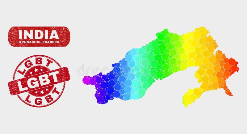 Spectral Mosaic Arunachal Pradesh State Map and Distress LGBT Stamp Seal vector illustration