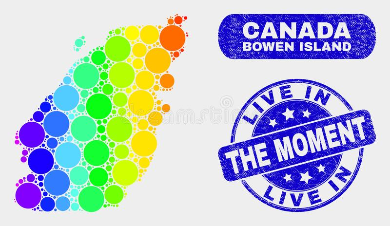 Spectral Mosaic Bowen Island Map and Distress Live in the Moment Watermark. Spectrum dotted Bowen Island map and rubber prints. Blue round Live in the Moment stock illustration