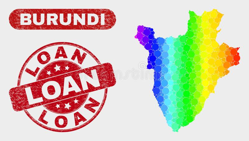 Spectral Mosaic Burundi Map and Scratched Loan Stamp Seal royalty free illustration
