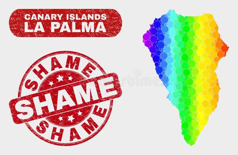 Spectral Mosaic La Palma Island Map and Distress Shame Stamp Seal vector illustration