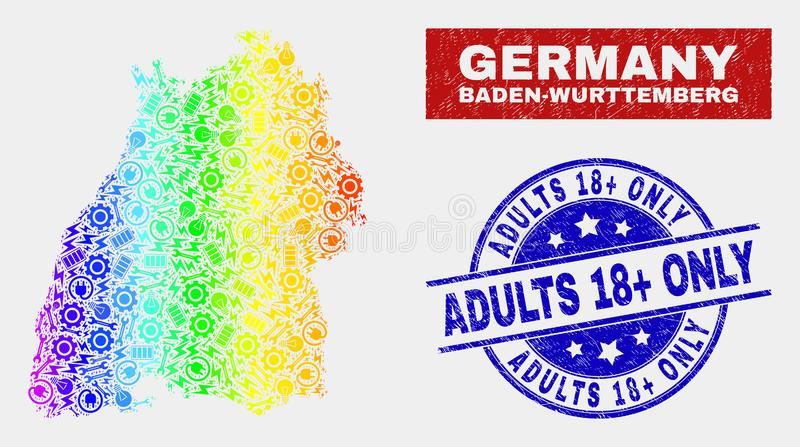 Spectral Production Baden-Wurttemberg Land Map and Grunge Adults 18 Plus Only Seals. Production Baden-Wurttemberg Land map and blue Adults 18 Plus Only scratched stock illustration