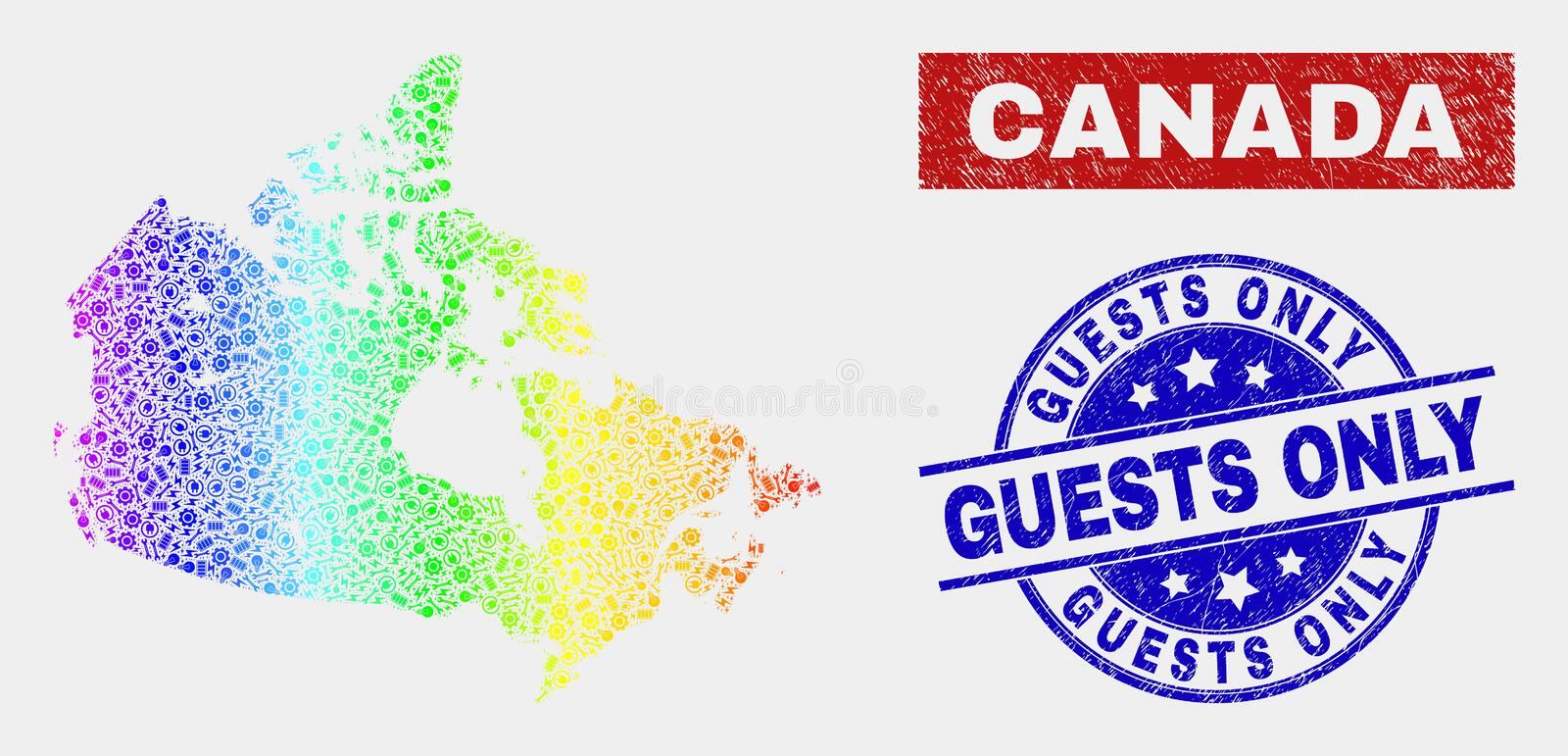 Spectral Service Canada Map And Scratched Guests Only Stamp