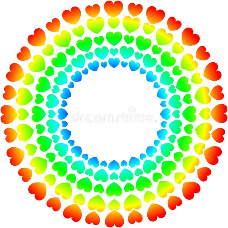 Spectre d'arc-en-ciel de cadre de jour de valentines de coeurs illustration stock