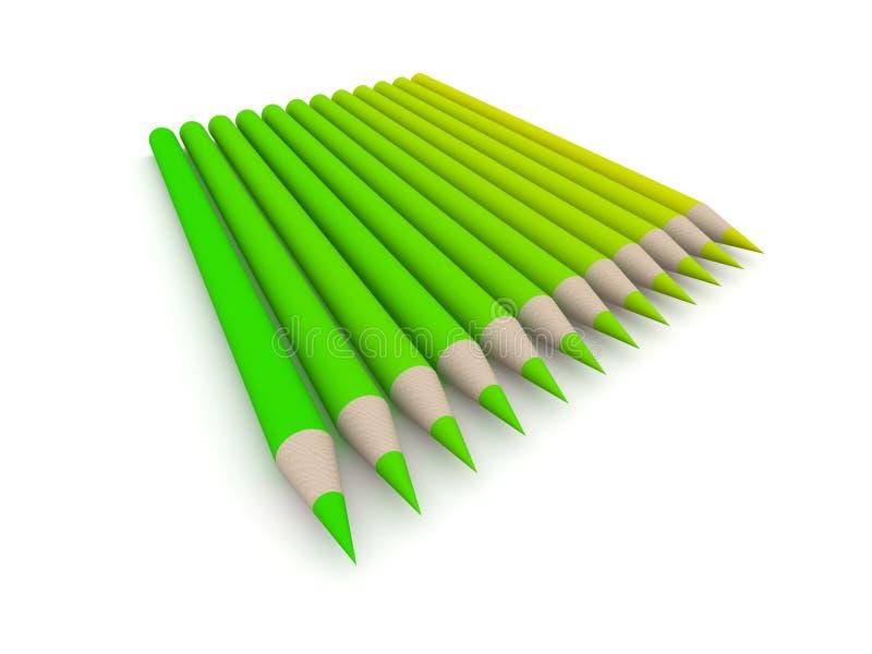 Spectre de couleur de crayon - vert 2 illustration libre de droits