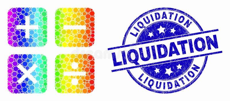 Spectre Dot Calculator Icon de vecteur et joint rayé de liquidation illustration de vecteur