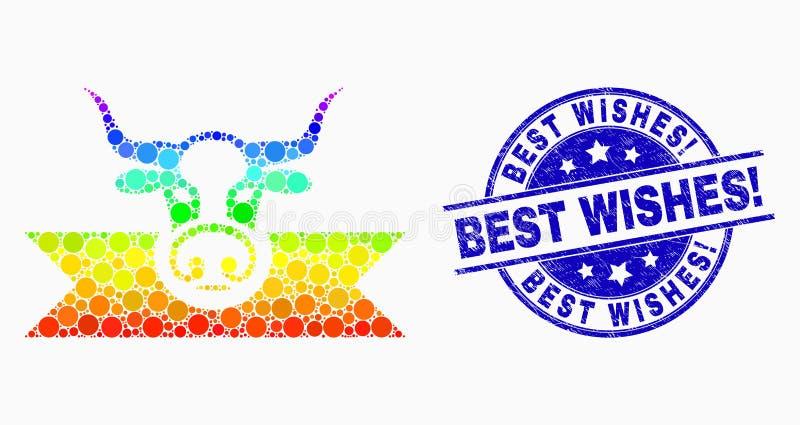 Spectre Dot Cow Award Ribbons Icon de vecteur et détresse meilleurs voeux ! Joint illustration stock