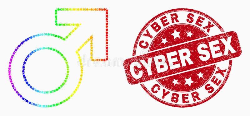 Spectre Dot Male Symbol Icon de vecteur et joint grunge de sexe de Cyber illustration stock